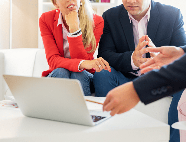 Business Owners talking to an SEO Consultant